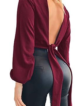 Blusas con cuello en V de manga larga Juleya Blusas con cuello de Blusa sexy de mujer