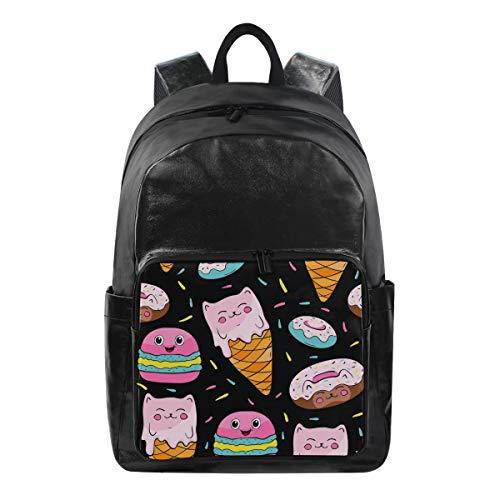 DOSHINE Wasserdichter Rucksack, Cartoon-Design, Süßes EIS, Donuts, Reisen, Schule, Computer-Tasche, Daypack für Herren, Damen, Jungen, Mädchen -