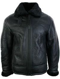 Hommes hiver cru aviateur en cuir en peau de mouton véritable vol veste de pilote zip noir