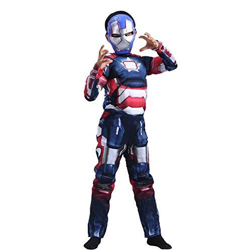 POIUYT Iron Man Kostüm Anime Avengers Endgame Iron Man Strumpfhosen Cosplay Kostüm 3D Kleidung + Maske Kind,Blue-M (Iron Kostüm Man Weibliche)