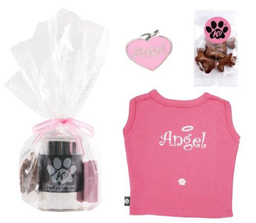 K9Set Geschenkset Ein T-Shirt in einer Schachtel aus Metall, ein Medaillon Identifizierung und der Hundesnacks in Knochenform (Kostüme Aus Der Schachtel)