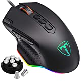 PICTEK Upgraded Gaming Mouse Wired,【Advanced PMW3327 Gaming Sensor】with 10 Programmable Buttons, Customizable RGB Lights and Weights Perfect Gaming Computer Mouse for PC, Laptop, Computer etc