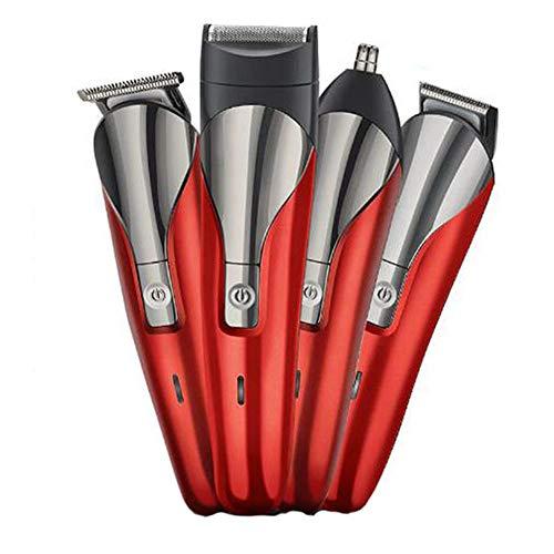 WANGXN Elektrische Rasierfunktion 4 in 1 Razor Schnellaufladung leicht saubere Elektrorasierer,Red