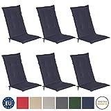 Beautissu 6er Set Loft HL Hochlehner Auflagen Set dunkelblau 120x50 cm Sitzkissen Gartenstuhlauflage Schaumkern-Füllung mit Oeko-Tex - UV Lichtecht