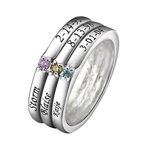 Quiges Damen Personalisiert Gravur Name Dreifach Stapelring 925 Sterling Silber Zirkonia Geburtsstein Ringgröße 56