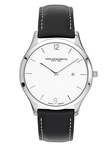 Abeler & Söhne Reloj de hombre fabricado en Alemania con cinta de piel, cristal de zafiro y fecha as3015