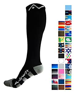 Compression Socks (1 pair) for Women & Men by A-Swift - Best For Running, Athletic Sports, Crossfit, Flight Travel - Suits Nurses, Maternity Pregnancy, Shin Splints - Below Knee High (Black, Small)