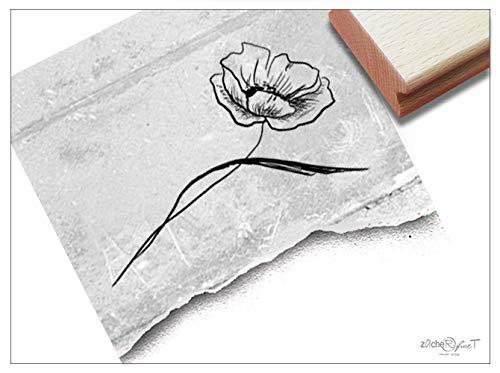 Stempel Blume MOHNBLUME - Bildstempel Motivstempel für Karten Briefe Servietten Tischdeko Scrapbook Art-Journal Kunst Deko Geschenk - zAcheR-fineT