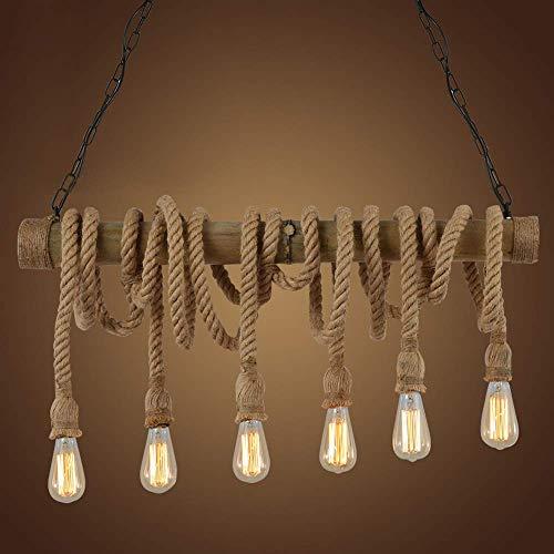 CHTG Industrieller Weinlese-;ngender Leuchter, der natürliches Hanf-Seil beleuchtet Bambus Edison LED antike Retro- Loft-Insel-;ngende Lampen-;ngendes Licht-Decken-Befestigung mit 6 Lichtern - Pl Pendelleuchten