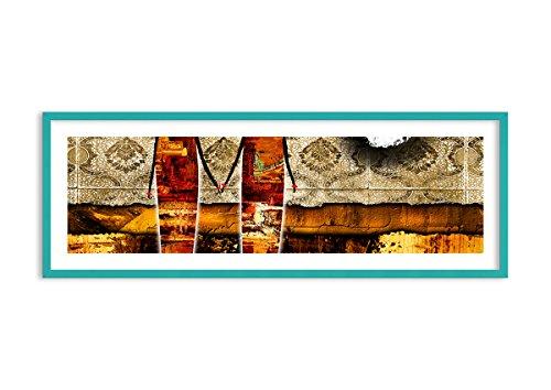 Bild im blauen Holzrahmen - Bild im Rahmen - Bild auf Leinwand - Leinwandbilder - Breite: 140cm, Höhe: 50cm - Bildnummer 0659 - zum Aufhängen bereit - Bilder - Kunstdruck ()