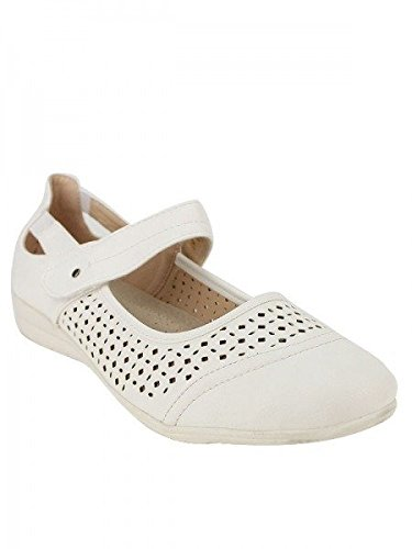Cendriyon, Ballerine Façon Mocassin CM Chaussures Femme Blanc