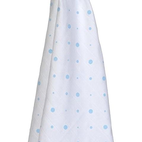 Gloop Cuidado del bebé Algodón Orgánico tradicional Triple Pack de muselina (Lunares, Color Azul/Azul nubes/Elefantes, 100x 100cm)