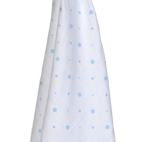 Läuft Baby Care Bio Baumwolle Traditionelle Musselin, 3Stück (blau Punkte/blau Wolken/Elefanten, 70x 70cm)