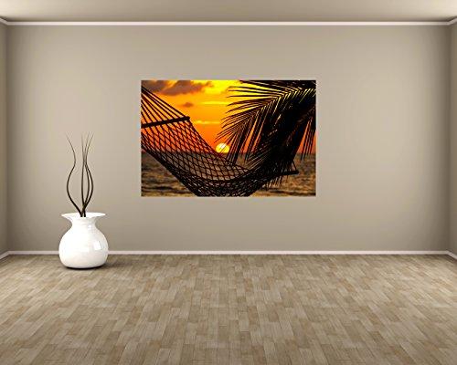 Preisvergleich Produktbild Vlies Fototapete - Palmen, Hängematte und Sonnenuntergang - 135x90 cm - inklusive Kleister - Tapetenkleister – Bild auf Tapete – Bildtapete – Foto auf Tapeten – Wand – Wandtapete – Vliestapete – Wanddeko - Design
