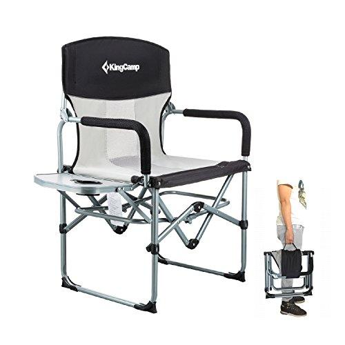 KingCamp Heavy Duty kompakt Faltbare Mesh Stuhl mit Beistelltisch und Griff