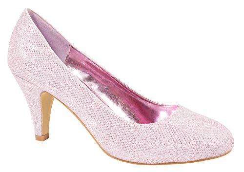 Elara Damen Pumps | Bequeme High Heels Glitzer | Hochzeit Stiletto Pink