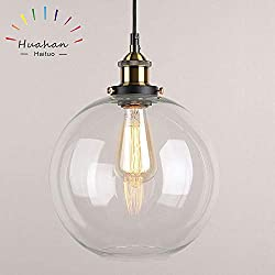 Huahan Haituo Glass Pendant Light Vintage Industrial Metal Finish Clear Glass Ball Round Shade Loft Pendant Lamp Retro Ceiling Light Vintage Lamp