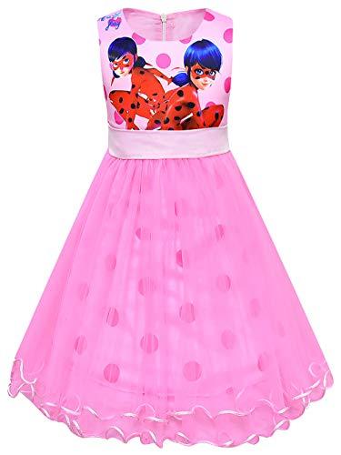 FStory&Winyee Cartoon Miraculous Ladybug Kleid Mädchen Prinzessin Kostüm Sommerkleid Kinder Kleider Festlich Partei Ärmellos Hochzeit Partykleid Geburtstagsparty Fasching Karneval Verkleidung 110-140