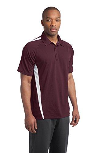 sport-tek Herren Micro Mesh Colorblock Polo Shirt Maroon/ White