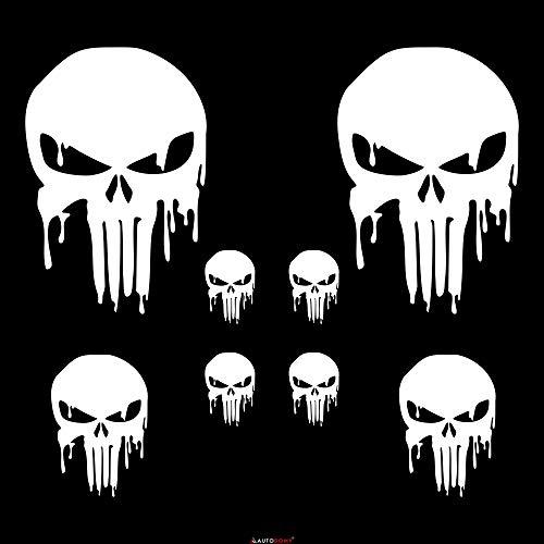 Autodomy Punisher Skull Geschmolzen Aufkleber Paket 8 Stück für Auto oder Motorrad (Weiß)