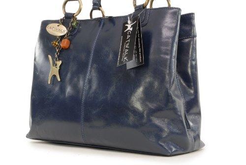 Borsa tote grande vintage di Catwalk Collection Bellstone Blu Navy