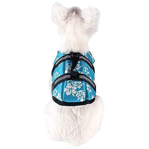 DOG Haustier Zubehör Sommer Haustier Hund Schwimmweste Schwimmweste Kleidung Sicherheitsweste Harness Saver - Blue Xl Flower