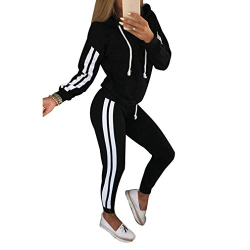 Hibote Casual Trainingsanzug Anzüge Für Damen Set Hoodies Sweatshirt + Sweatpants 2 Stücke Sets Damen Anzug Sweatsuit Schwarz S (Adidas Anzüge Sweat Frauen)