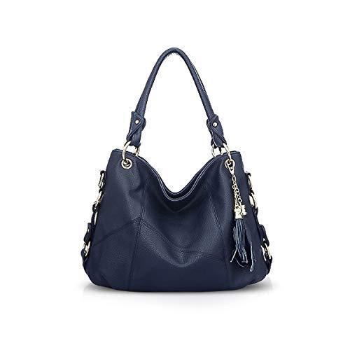 NICOLE & DORIS Damen Handtasche Hobo Tasche für Damen Leder Schultertasche Damen Umhängetasche Handtaschen mit Quaste Blau