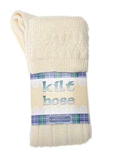 Kinder Kilt Socke, Cremefarbe, 12-24 Monate - Wolle Kilt