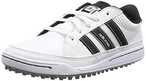 adidas 360 Traxion, Chaussures de Golf mixte enfant - Blanc (White/Core Black/Silver Met) - 35 EU (2.5 UK)