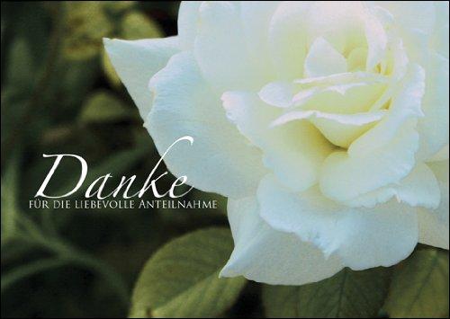 Trauerkarten 5er Set: Danke für die liebevolle Anteilnahme - Dankeskarte Trauer Trauerkarte Danksagung Kondolenzkarte Beileid Grußkarte mit Rose