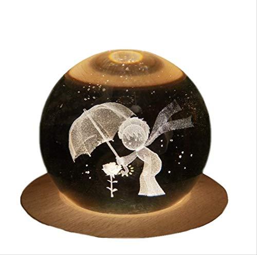 FEIF Nachtlicht Kleine Nachtlicht Kristallkugel Spieluhr Geburtstagsgeschenk Mädchen 3D Kleine Nachtlicht Kreative Elch Licht Kleine Prinz Acht-Ton-Box Kanone Orgasmus Spieluhr Kleine Prinz Rose (Music Box Rose)