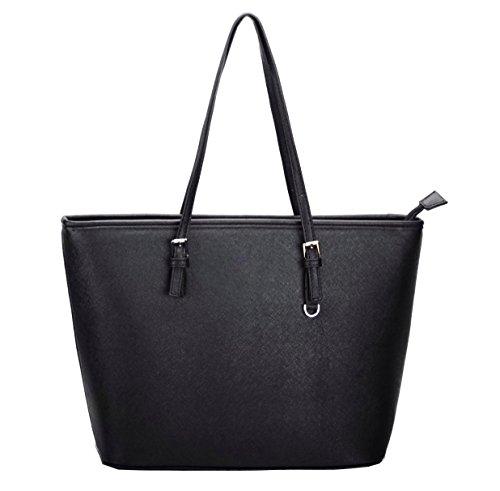 Damen Handtasche Schwarz Handtaschen Damen Groß Shopper Tasche Schultertasche Frauen K8235# (Schwarz)