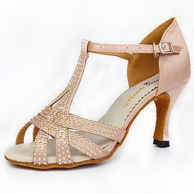 Scarpe da ballo-Personalizzabile-Da donna-Balli latino-americani-Tacco a rocchetto-Raso-Nero Black