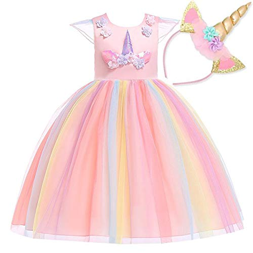 NNDOLL Mädchen Einhorn Rüschen Kleid