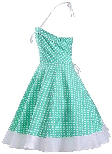 Brinny 2017 Femme Robe Vintage 1950's Audrey Hepburn pin-up robe de soir¨¦e cocktail style halter ann¨¦es 50 ¨¤ pois Vert