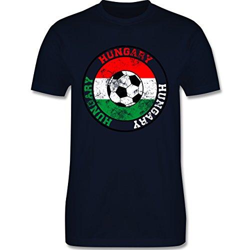 EM 2016 - Frankreich - Hungary Kreis & Fußball Vintage - Herren Premium T-Shirt Navy Blau