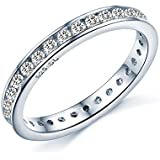 Brilliant Round Cut Eternity Ring - Full Simulated Diamond CZ Crystal Eternity Ring Style - Full Eternity White Gold Look Sterling Silver - Sizes I - T...