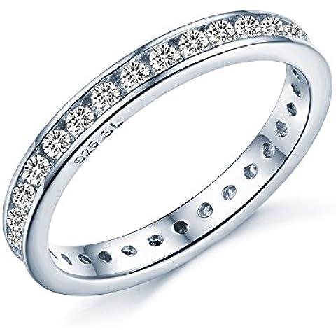 UK Sreema - Fede stile Eternity, anello con brillanti di zirconia cubica incastonati lungo tutta la fascia, argento Sterling con aspetto di oro bianco, misure 7-21,5