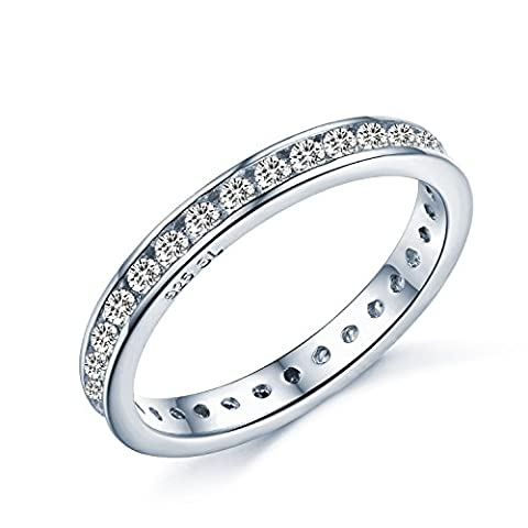 Brilliant Round Cut Eternity Ring - Full Simulated Diamond CZ Crystal Eternity Ring Style - Full Eternity White Gold Look Sterling Silver - Sizes I - T…