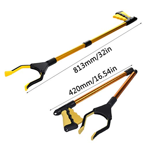 Folding Grabber Reacher Tool, Portable Extra Long Aluminum Reaching Aid Litter Picker Arm Extension Garden Nabber-gold