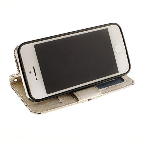 E-Lush Premium PU Leder Mandala Muster Tasche für Apple iPhone 5 5S SE Einfach Einfarbig Muster Klapphülle 360 Full Body Protection Flip Case Wallet Cover Weiche Flexible TPU Soft Rückseite Abdeckung  Weiß