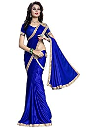 The Fashion Outlets Women's Lycra Saree With Blouse Piece (Bjli-B_Rsbh_2, Blue, Free Size)