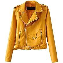 nuevo estilo 207d4 82c24 Amazon.es: cazadoras mujer cuero - Amarillo