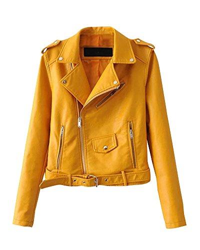Chaquetas Para Mujer Otoño Invierno Blazers Chaqueta Con Cremallera Casual Cazadoras De Cortos De Cuero Pu Amarillo XL