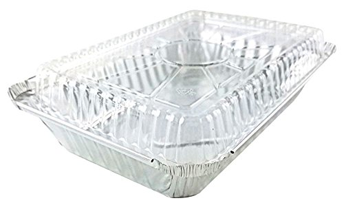 """Pactogo 2 lb. Oblong Aluminum Foil Take-Out Pan with Clear Dome Lid Disposable Containers 8.44"""" x 5.94"""" x 1.75"""" (Pack of 50 Sets)"""