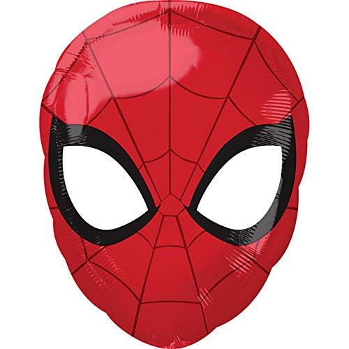 Anagram - palloncino a forma di maschera di spider man (30 x 43cm) (rosso/nero)