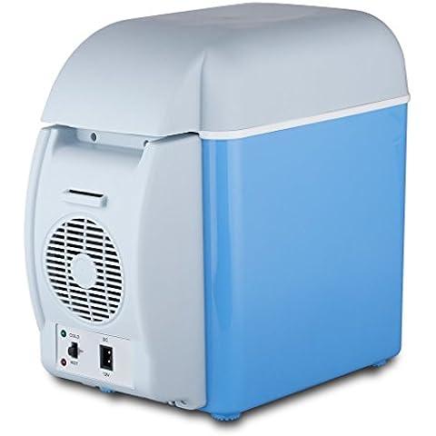 2 en 1 Mini Nevera Electrica Portatil Calentador 7.5L 12V para Coche Camion Vehiculo Camping, Azul
