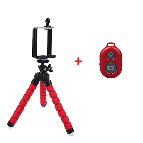 Heyqie(TM) Flexible Octopus Style Portable and Adjustable Mini Tripod for Smartphone, Camera, Webcam with Bluetooth Wireless Remote Shutter for iPhone Samsung and other IOS/Android Phone - Red