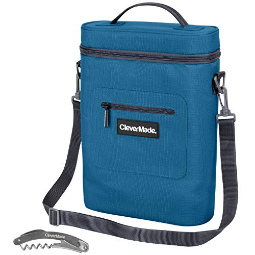 CleverMade Wine Bottle and 6 Pack Cooler Bag; Insulated Leakproof Tote with Removable Ice Pack and Corkscrew Bottle Opener, Teal Tall Beverage